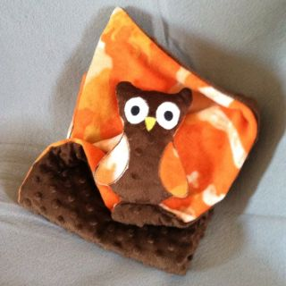 Camo Owl Baby Blanket Security Brown Minky Orange Camo Fleece