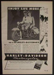 1946 Harley Davidson Motorcycles *Enjoy Life More* vintage AD