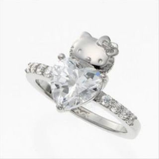 New Hello Kitty Heart Ring Swarovski Elements Japan