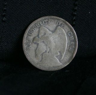 1913 10 Centavos Chile Silver World Coin Condor KM156.2a ten cents