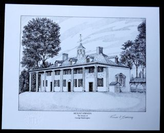 Mount Vernon Home of George Washington Lithograph by Richard V