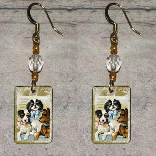 KING CHARLES SPANIEL dog Altered Art Beaded Charm EARRINGS