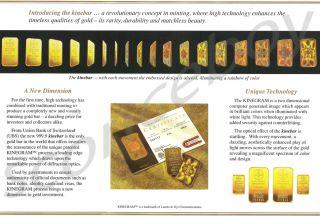 GRAM 1g KINEBAR UBS HERAEUS GOLD BULLION BAR .9999 HOLOGRAM SHIPS