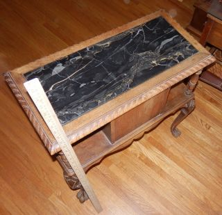 Antique Walnut + Onyx inlay top Tobacco Table copper lined humidor