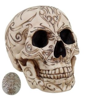 Tribal Tattoo Skull Head Statue Figurine Skeleton Halloween Decor