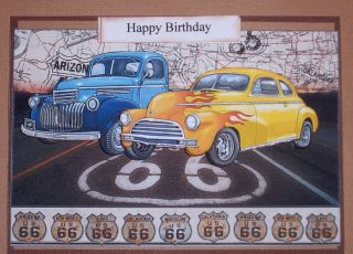 Handmade Greeting Card Matching Envelope 3D Happy Birthday Route 66