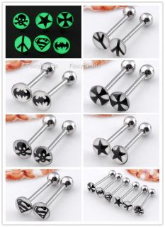 Glow in Dark Pick Logo Tongue Ring Stainless Steel Bar Piercing Body