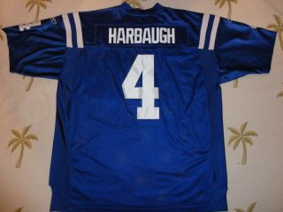 Indianapolis Colts JIM HARBAUGH #4 Authentic Reebok Home BLUE Jersey