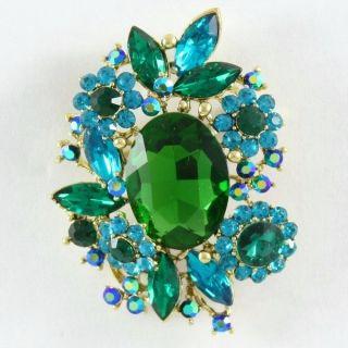 Vintage Style Green Flower Pendant Brooch Broach Pin 2 7 w Rhinestone