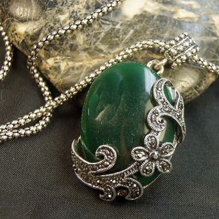 Tibet Silver Carved Flower Green Resin Pendant Necklace