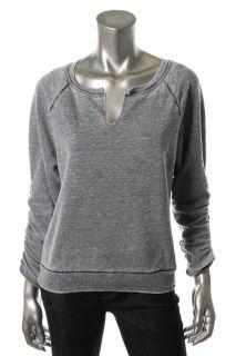 Hard Tail New Gray Heathered Fleece Split Neck Pullover Sweater Top L
