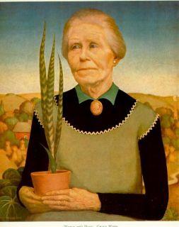 Grant Wood WPA 1939 Print  Woman with Plants  AAA