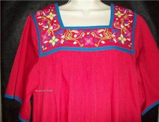 Go Softly Patio House Dress Muu Caftan Duster Red M