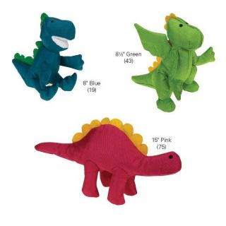 Dinosaur Toy Puppy Pet Toys Dino Nylon Blue Green Pink Squeaker