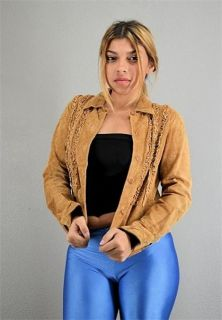 Womens Suede Leather Margaret Godfrey Cropped Jacket Shirt s M