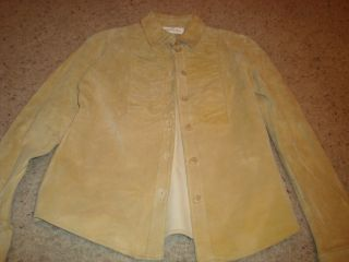 MARGARET GODFREY BUTTER YELLOW SUEDE LEATHER JACKET BLAZER SZ 4 LONG