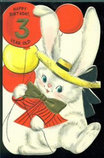Vintage Hallmark Greeting Card Happy Birthday 3 Year Old Dressed Bunny