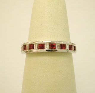 New 18K White Gold Diamond Ruby Band Ring