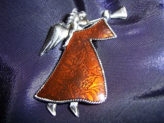 Estate Pewter Red Enamel Christmas Angel 2 Pin Brooch