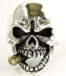 14k Gold Cigar Skull Sterling Silver Biker Ring Sz 8