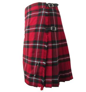 MacGregor Red Tartan Plaid Deluxe Kilt Skirt 26 44