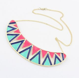Gold Plated Colorful Glazed Rainbow Wave Mouth Teech Crescent Necklace
