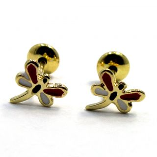 Gold 18K GF Tiny Earrings Red Dragonfly Earrings Girl Baby Safety High
