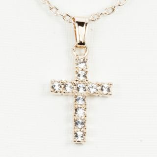 Ajuna 14k Gold Filled Crystal Cross Pendant Necklace