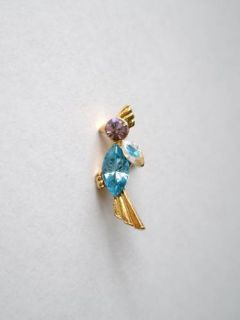 Gold Plated Parrot Lapel Pin Badge Blue Purple Crystals