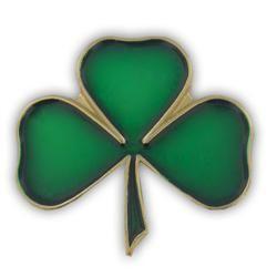 Green Gold Plated Shamrock Lapel Pin St Patricks Day