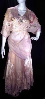 Harold Vintage Lilac Peach Pink Silk Chiffon Skirt Blouse Gypsy M L