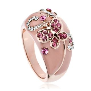 Butterfly Cocktail Fashion Ring Rose Gold GP Swarovski Crystal
