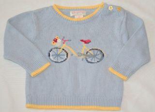 Hartstrings Girls 2T Sweater Crewneck Bicycle Flower Blue Yellow