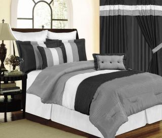 7pc Black White Gray Comforter Set King Size Faux Silk S16396