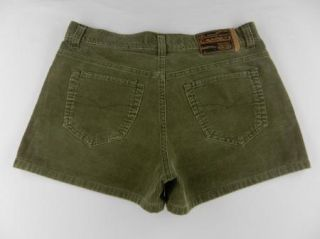 Cavaricci Khaki Green Corduroy 100% Cotton Casual Shorts Womens Sz 3