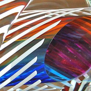 Signed Paul Harrie Sunrise Ellipse Art Glass Sculpture
