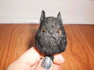 Doogie Head Black Brussels Griffon errier Figurine dog puppy RARE