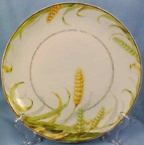 Lovely Golden Wheat Porcelain Cake Cookie Plate Bavaria