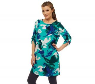 LOGO Lori Goldstein Printed Tunic Ruched Tab Sleeves Teal Combo 3X NEW