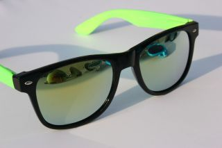 Black Neon Green Mirror way Sunglasses 80s vintage retro creppy shades