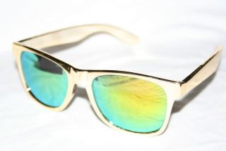 Wayfarer Sunglasses Gold Frame Green Mirror Lens Retro Vintage Shades