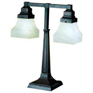 Meyda Tiffany Bungalow White Alabaster Swirl Two Arm Desk Lamp