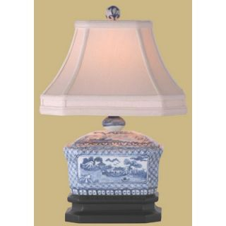 Oriental Furniture 15 Canton Tea Candy Box Lamp in Blue and White