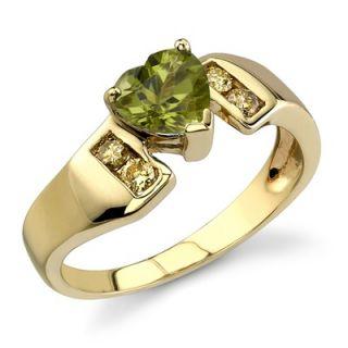 Carat Heart Shape Peridot Diamond Ring 14 Karat Yellow Gold