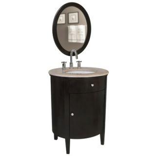 Belle Foret 21 x 29 Oval Vanity Mirror in Walnut