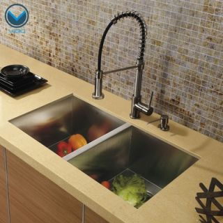 Vigo 32 x 19 Undermount Double Bowl Kitchen Sink with Faucet and