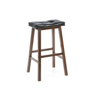 Winsome Mona 29 Saddle Seat Stool with Cushion in Antique Walnut
