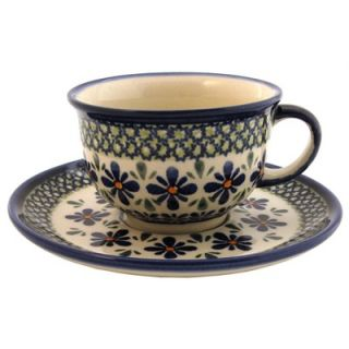 Polish Pottery 8 oz Coffee Cup & Saucer   Pattern DU60   775 DU60