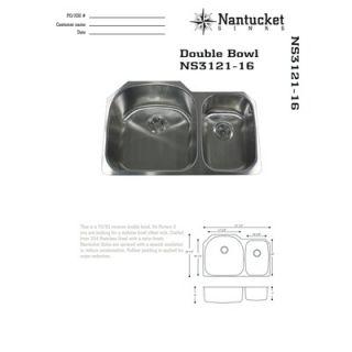 Nantucket Sinks 31.5 Offset Double Bowl Undermount Kitchen Sink in