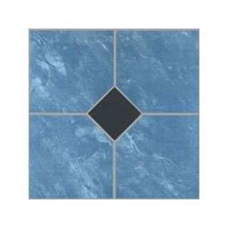 Home Dynamix Vinyl Blue Marble / Black Diamond Floor Tile (Set of 20